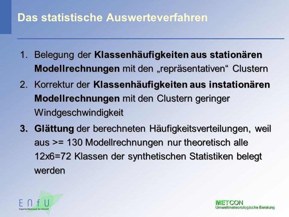 """METCON Umweltmeteorologische Beratung Das statistische Auswerteverfahren 1.Belegung der Klassenhäufigkeiten aus stationären Modellrechnungen mit den """""""