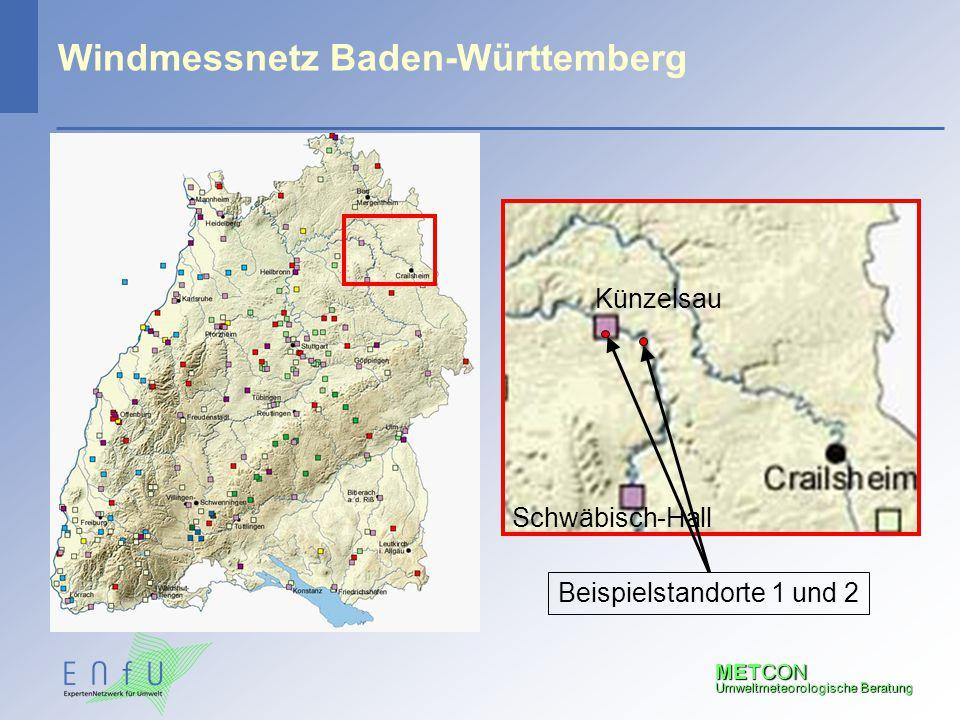 METCON Umweltmeteorologische Beratung Windmessnetz Baden-Württemberg Künzelsau Schwäbisch-Hall Beispielstandorte 1 und 2