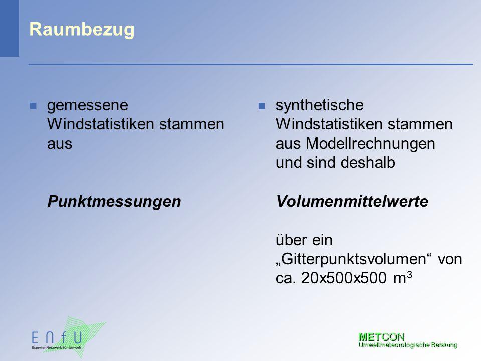 METCON Umweltmeteorologische Beratung Raumbezug n gemessene Windstatistiken stammen aus Punktmessungen n synthetische Windstatistiken stammen aus Mode
