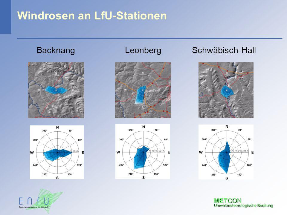 METCON Umweltmeteorologische Beratung Windrosen an LfU-Stationen LeonbergBacknangSchwäbisch-Hall
