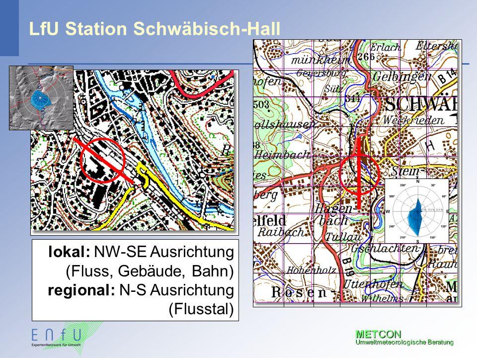 METCON Umweltmeteorologische Beratung LfU Station Schwäbisch-Hall lokal: NW-SE Ausrichtung (Fluss, Gebäude, Bahn) regional: N-S Ausrichtung (Flusstal)