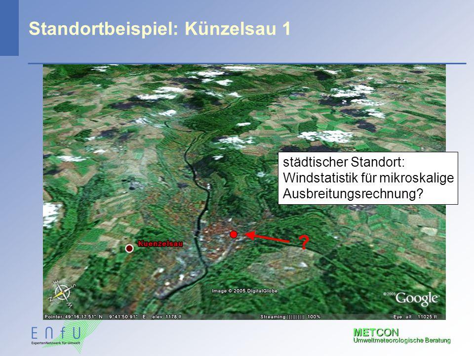 METCON Umweltmeteorologische Beratung Standortbeispiel: Künzelsau 1 ? städtischer Standort: Windstatistik für mikroskalige Ausbreitungsrechnung?