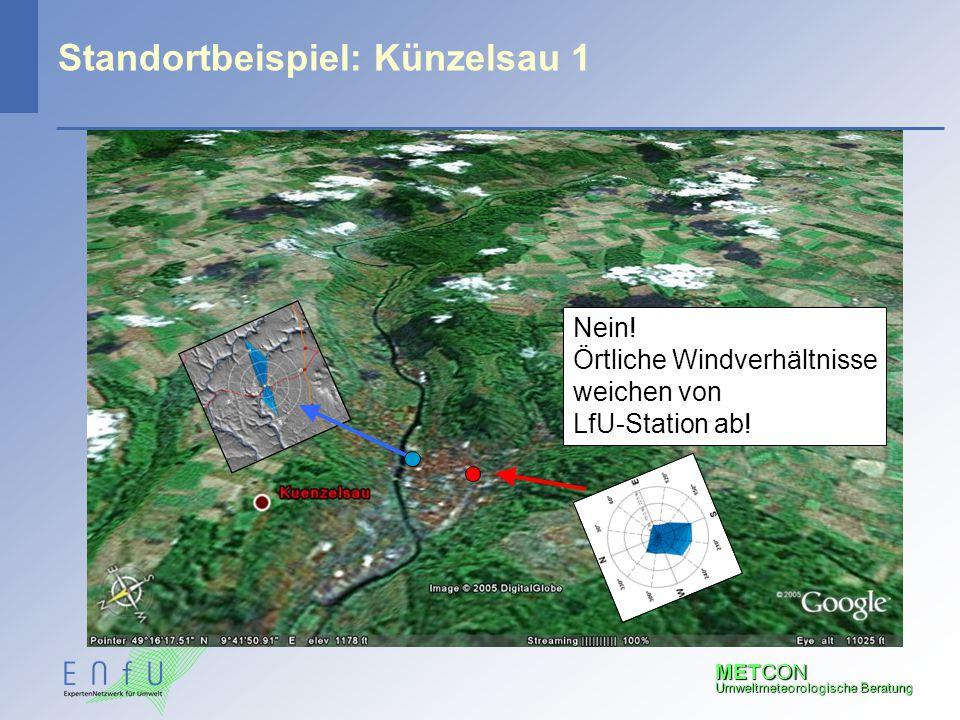 METCON Umweltmeteorologische Beratung Standortbeispiel: Künzelsau 1 Nein! Örtliche Windverhältnisse weichen von LfU-Station ab!