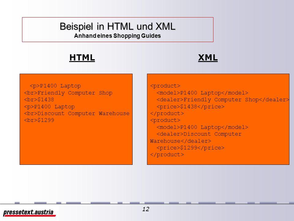 """11 Funktionen von XML – """"Smart Data Beschreibung von Metadaten (Daten über die Daten) – auf Basis der Struktur – auf Basis des Inhalts – auf Basis der Präsentation (Rendering) – auf Basis der Verknüpfungen Transformation von Daten unterschiedlicher DTDs Metasprache (Beschreibung anderer Formate) Datenaustauschformat"""