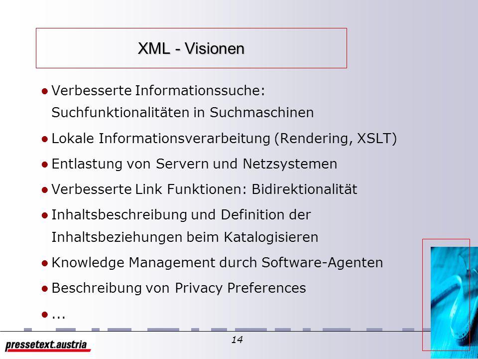 13 XML - Visionen Überbrückung von Inkompatibilität – proprietäre Datenformate – unterschiedliche Plattformen – Kommunikation von Applikationen Mehrfa