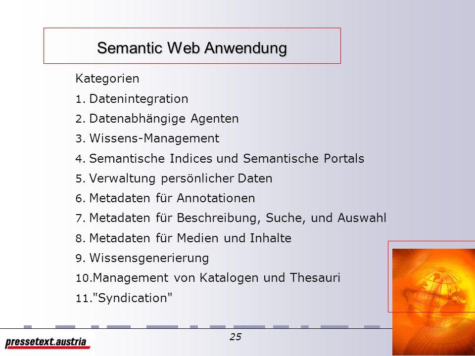 24 Semantic Web Die Semantic Web Activity hat die Metadata Activity abgelöst – Definition: Das Semantic Web ist die Repräsentation von Daten im World Wide Web in der Form, dass der Information eine wohldefinierte Bedeutung erhalten um Mensch und Maschine besser kooperieren zu lassen.
