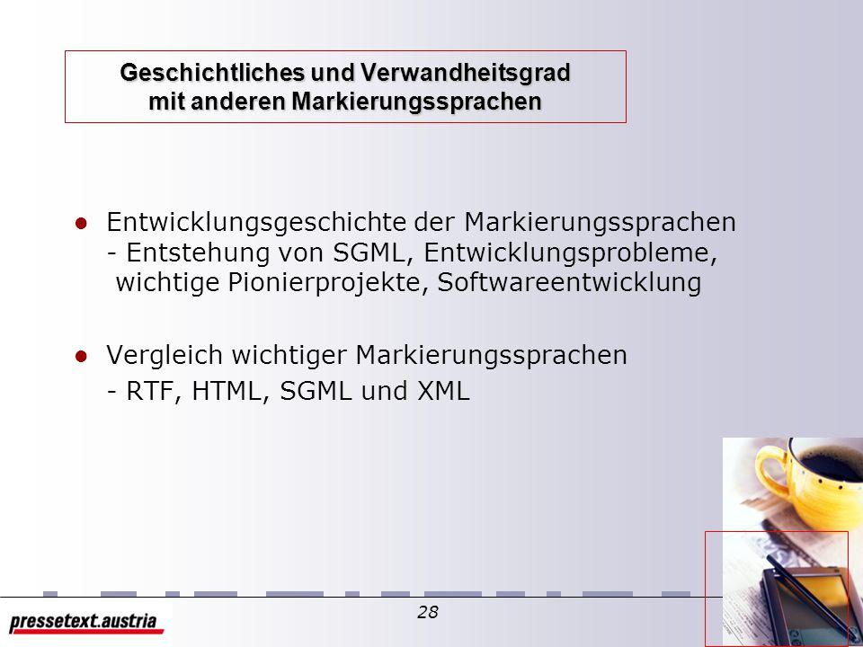 27 XML Geschichtliches und Verwandtes Was ist XML? Ziele & Visionen Geschichtliches und Verwandtes XML-Strukturen XML-Grammatik XML-Document Type Defi