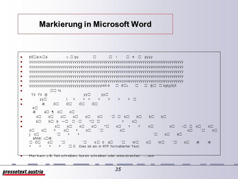 """34 RTF in Microsoft Word RTF formatierte Dokumente sind relativ leicht lesbar. In """"Microsoft Word"""" sollte Lesbarkeit vermieden werden – => Dokumente w"""