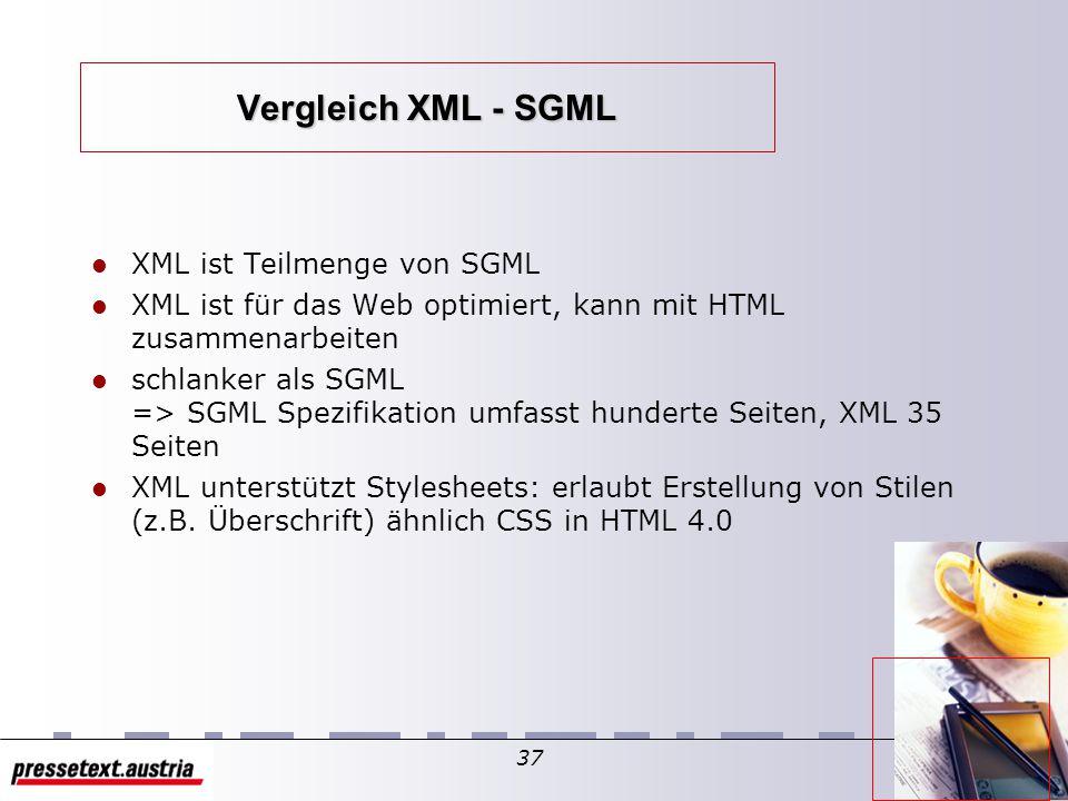 36 Struktur von SGML Markierung beschreibt die Struktur des Dokumentes, nicht dessen Formatierung oder Stilcharakteristika strenge Markierungssyntax => Code kann von Software und Mensch gelesen werden Beispiel: e-Mail Struktur Jodie Bill XML Seminar History und Verwandtheit mit anderen Markierungssprachen