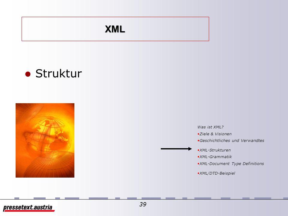 38 Grafische Beschreibung der Verwandtschaft SGML XHTML XML HTML } verallgemeinert } besonders 