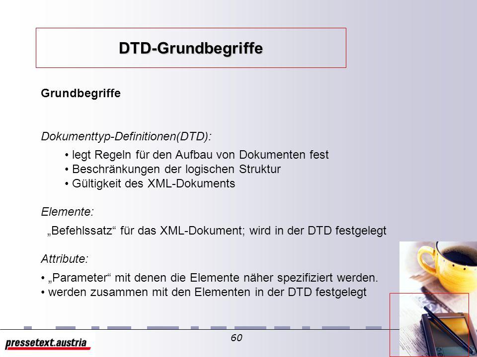 59 XML-Sprachspezifikation Prolog interne DTD externe DTD XML-Deklaration Dokumenttyp- Definition (DTD) Elemente Attribute Entities NotationsDokument Aufbau eines XML-Dokuments