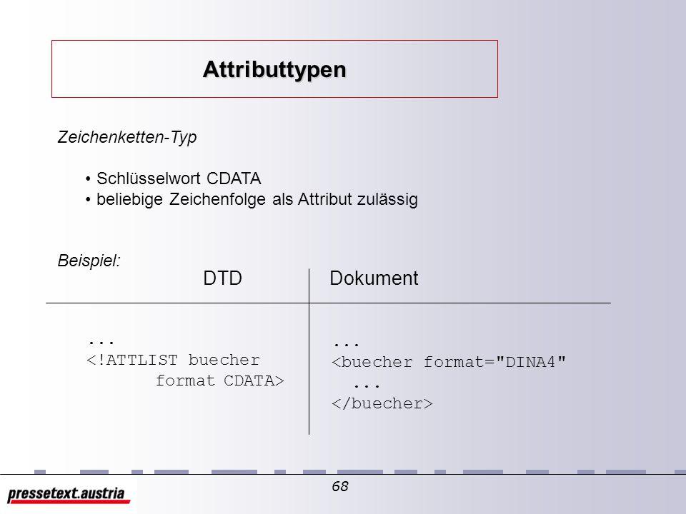67 Attribut-Vorgaben: default-Werte setzen Attribute als Pflicht- / freiwillige Eingabe deklarieren allgemeine Syntax: <!ATTLIST elementname att1 schlüsselwortatt-vorgabe att2 wertlisteatt-vorgabe> Attribute der Elemente