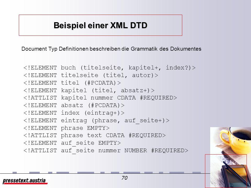 69 Aufzählungs-Typ hat kein Schlüsselwort wird erkannt durch Wertliste Attribut kann nur einen Wert aus der Liste annehmen default-Wert in DTD festlegen Beispiel:...