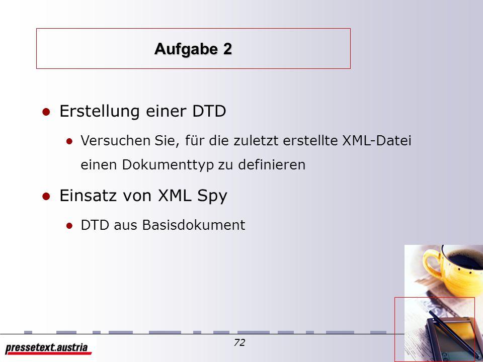 71 Valide XML Dokumente und wohlgeformte XML Dokumente Buch zur LVA Web Service Engineering Markus Schranz Kapitel 1: Das Internet … … … Beispiel eine