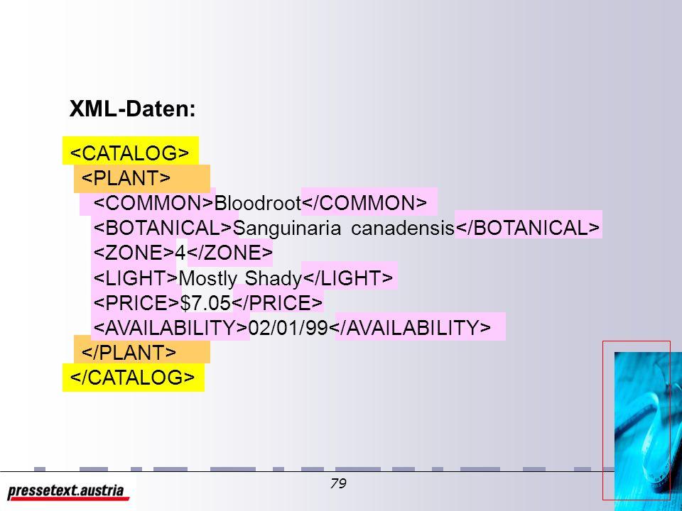78 Eine XSL-Vorlage XSL Dies ist ein Test einer XSL-Vorlage. Statisch (ohne XML-Daten)