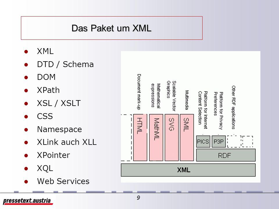 8 XML - Entwurfsziele XML - Entwurfsziele Gute Lesbarkeit Schnelles Design Präziser und formaler Entwurf Leichte Dokumentenerstellung Platzsparende Da