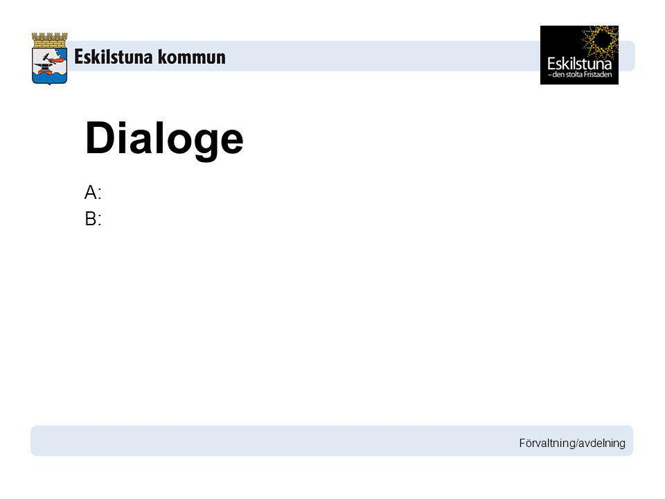 A: B: Förvaltning/avdelning Dialoge