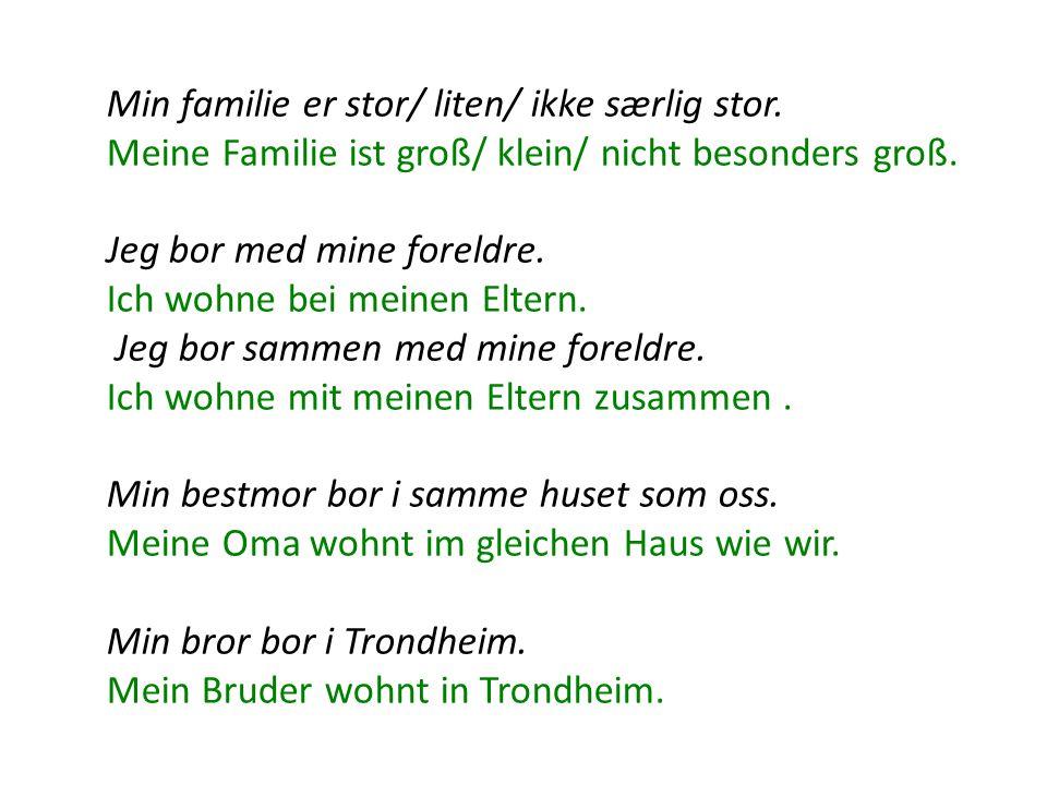 Min familie er stor/ liten/ ikke særlig stor. Meine Familie ist groß/ klein/ nicht besonders groß.