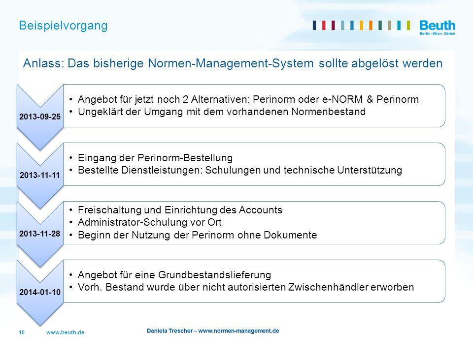 www.beuth.de Beispielvorgang Anlass: Das bisherige Normen-Management-System sollte abgelöst werden 10 2013-09-25 Angebot für jetzt noch 2 Alternativen