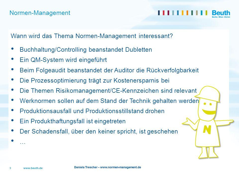www.beuth.de Wann wird das Thema Normen-Management interessant? Buchhaltung/Controlling beanstandet Dubletten Ein QM-System wird eingeführt Beim Folge