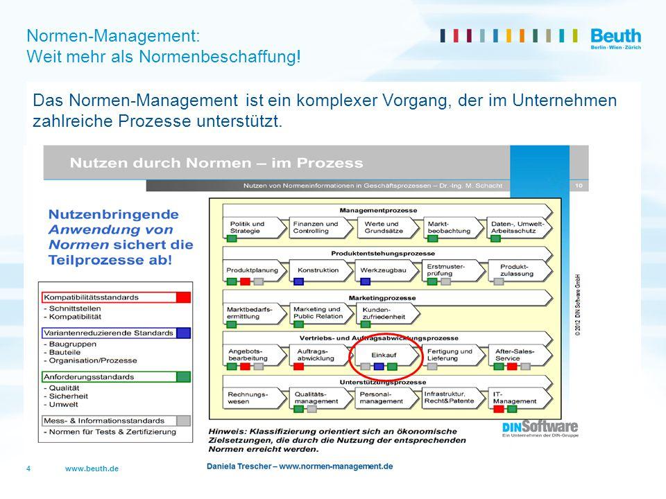 www.beuth.de Normen-Management: Weit mehr als Normenbeschaffung! Das Normen-Management ist ein komplexer Vorgang, der im Unternehmen zahlreiche Prozes