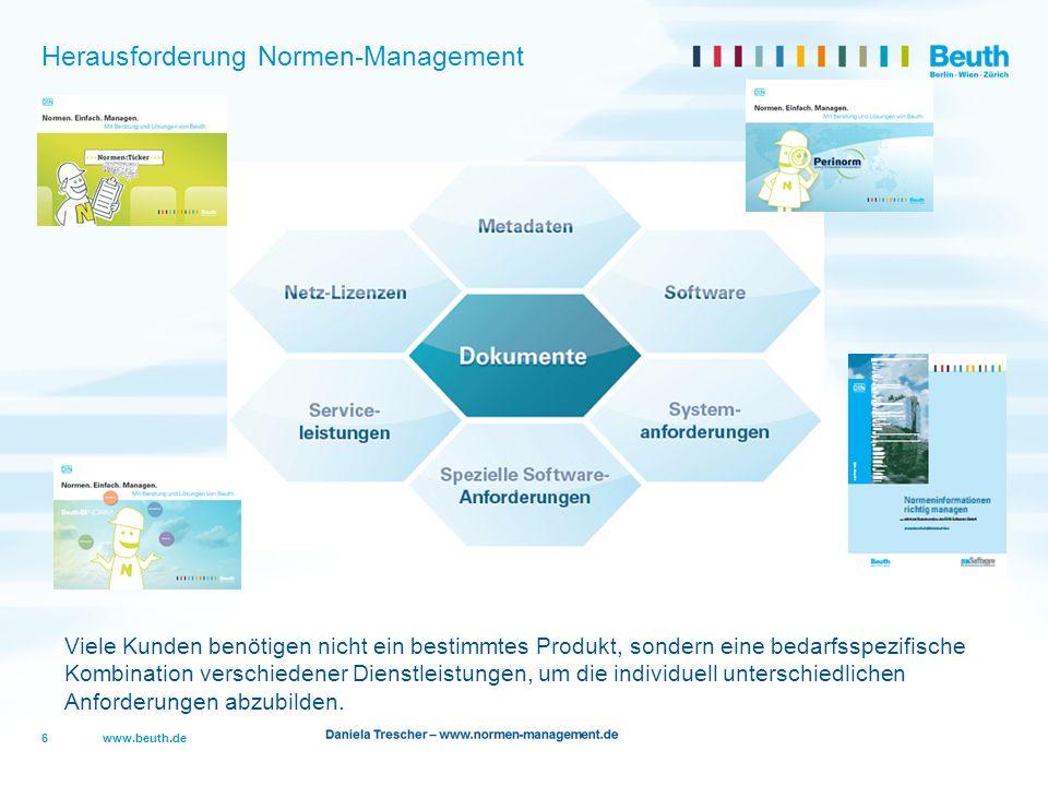 www.beuth.de Herausforderung Normen-Management 6 Viele Kunden benötigen nicht ein bestimmtes Produkt, sondern eine bedarfsspezifische Kombination vers
