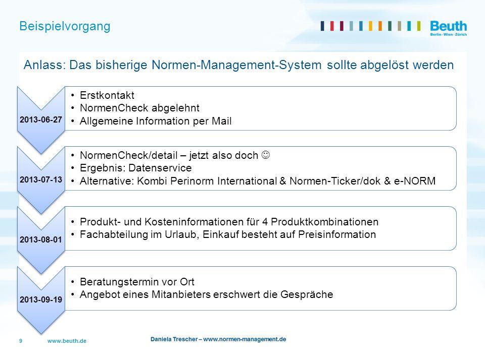 www.beuth.de Beispielvorgang Anlass: Das bisherige Normen-Management-System sollte abgelöst werden 9 2013-06-27 Erstkontakt NormenCheck abgelehnt Allg