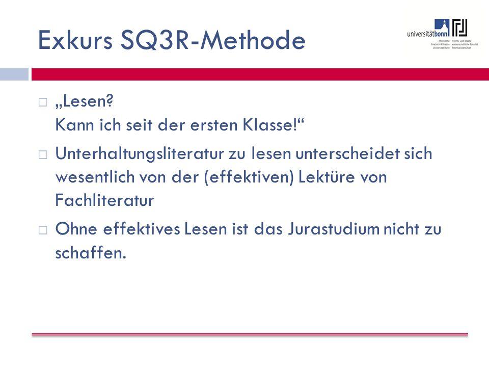 "Exkurs SQ3R-Methode  ""Lesen."