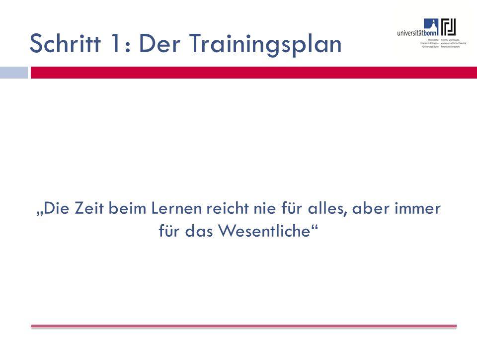 """Schritt 1: Der Trainingsplan """"Die Zeit beim Lernen reicht nie für alles, aber immer für das Wesentliche"""