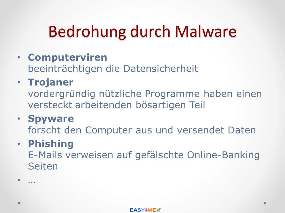 Bedrohung durch Malware Computerviren beeinträchtigen die Datensicherheit Trojaner vordergründig nützliche Programme haben einen versteckt arbeitenden