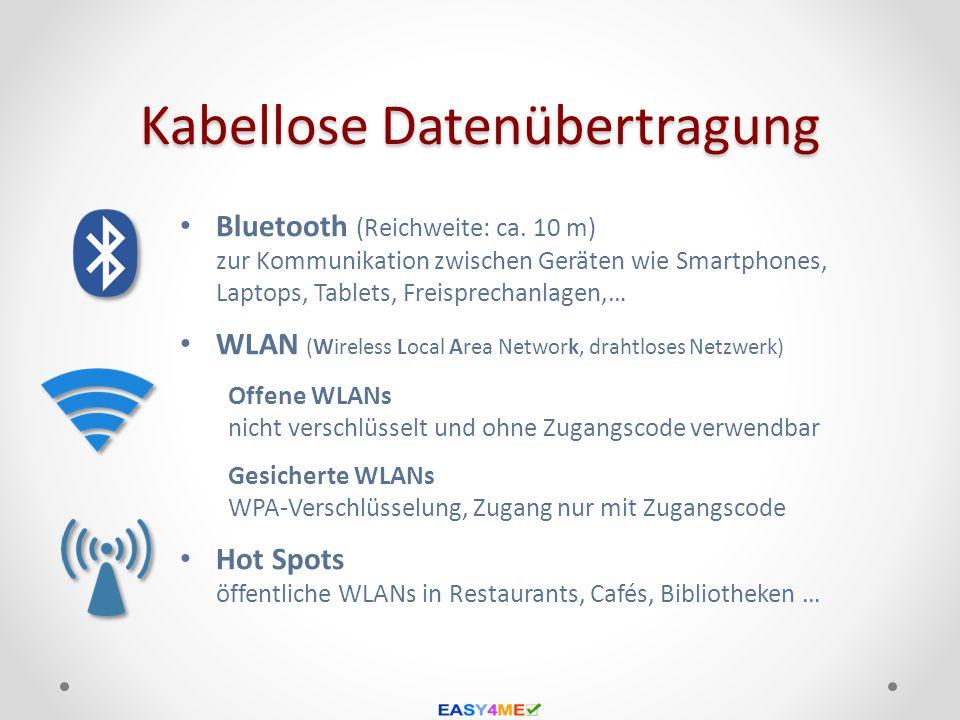 Kabellose Datenübertragung Bluetooth (Reichweite: ca. 10 m) zur Kommunikation zwischen Geräten wie Smartphones, Laptops, Tablets, Freisprechanlagen,…