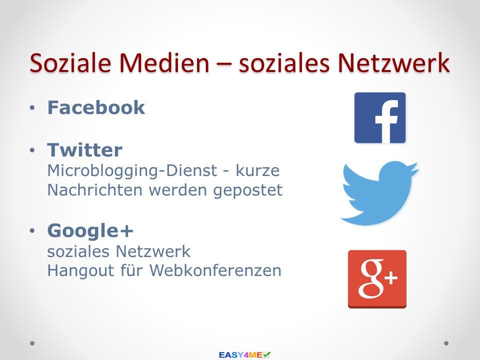 Soziale Medien – soziales Netzwerk Facebook Twitter Microblogging-Dienst - kurze Nachrichten werden gepostet Google+ soziales Netzwerk Hangout für Web
