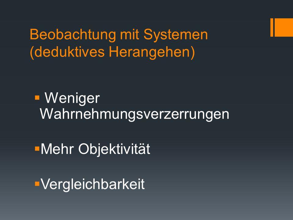 Weitere Beobachtungssysteme können sein:  Checklisten  Schnappschuss  Häufigkeitszählungen  Visuelle Beobachtungssysteme  Schätzskalen
