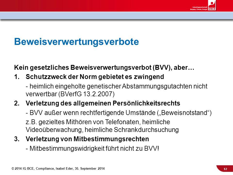 © 2014 IG BCE, Compliance, Isabel Eder, 30. September 2014 Kein gesetzliches Beweisverwertungsverbot (BVV), aber… 1.Schutzzweck der Norm gebietet es z