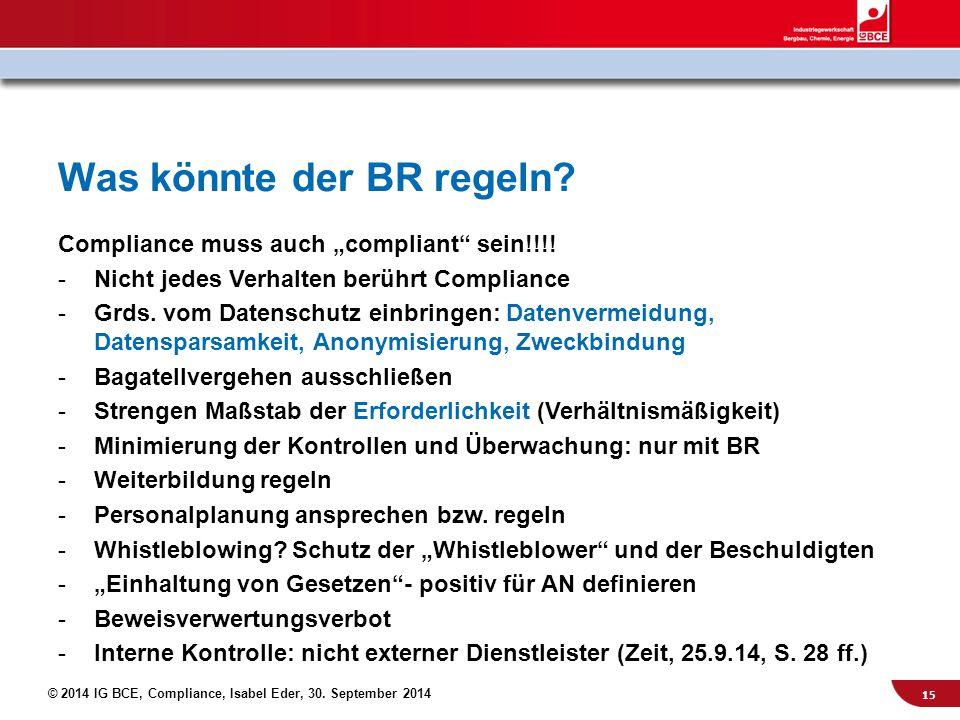 """© 2014 IG BCE, Compliance, Isabel Eder, 30. September 2014 Was könnte der BR regeln? Compliance muss auch """"compliant"""" sein!!!! -Nicht jedes Verhalten"""