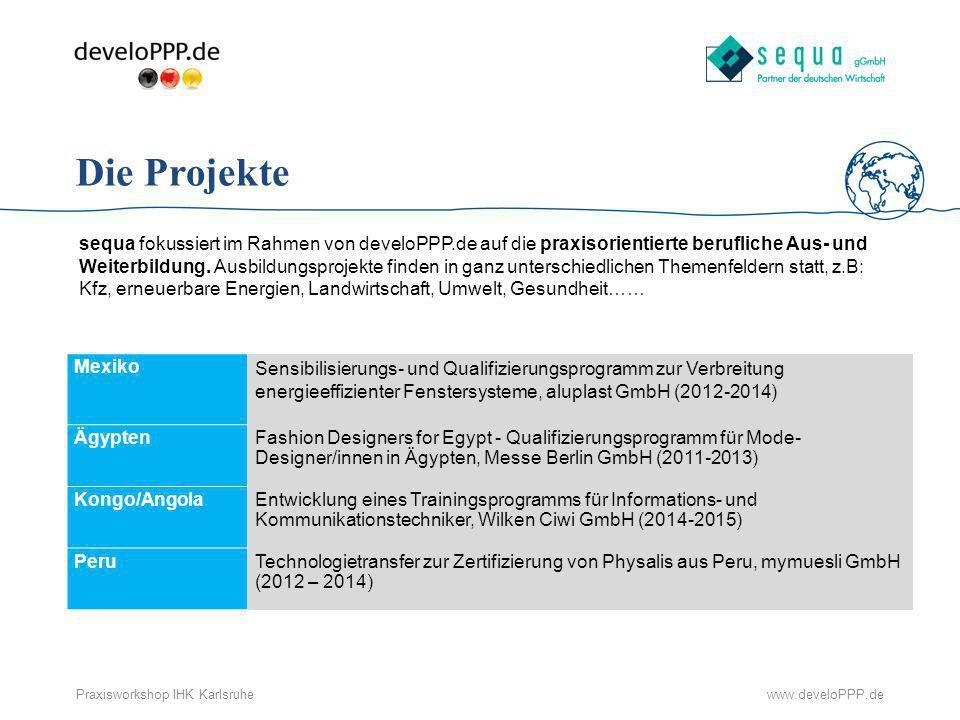 www.develoPPP.dePraxisworkshop IHK Karlsruhe Die Projekte sequa fokussiert im Rahmen von develoPPP.de auf die praxisorientierte berufliche Aus- und We