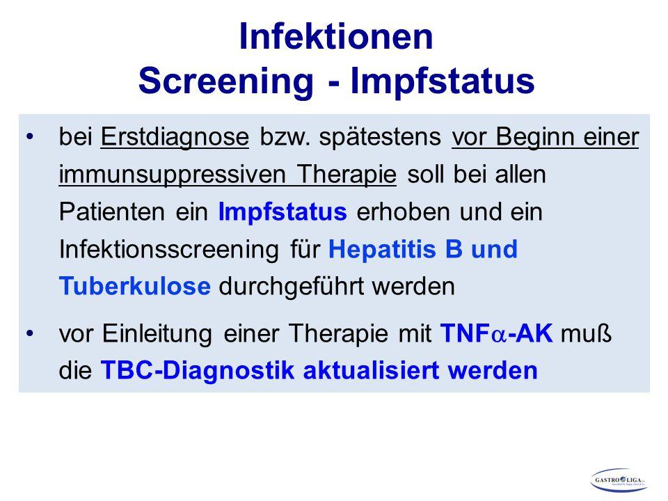 Infektionen Screening - Impfstatus bei Erstdiagnose bzw. spätestens vor Beginn einer immunsuppressiven Therapie soll bei allen Patienten ein Impfstatu