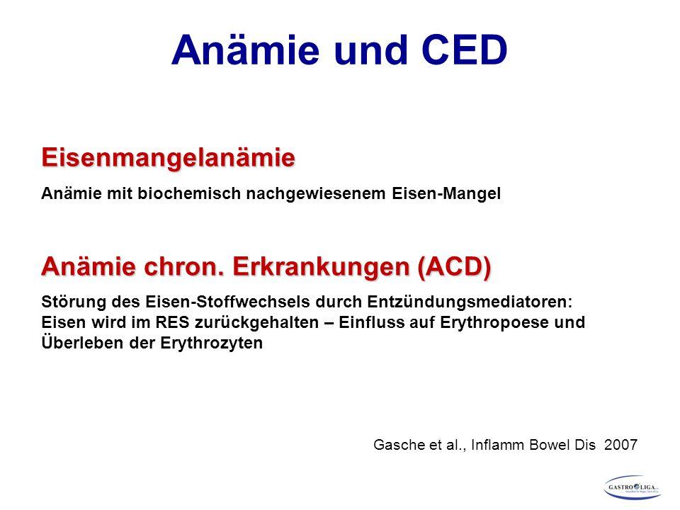 Eisenmangelanämie Anämie mit biochemisch nachgewiesenem Eisen-Mangel Anämie chron.