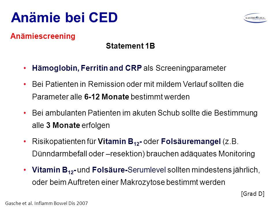 Anämie bei CED Hämoglobin, Ferritin and CRP als Screeningparameter Bei Patienten in Remission oder mit mildem Verlauf sollten die Parameter alle 6-12