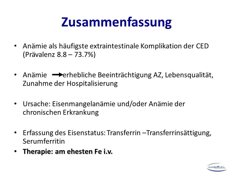 Zusammenfassung Anämie als häufigste extraintestinale Komplikation der CED (Prävalenz 8.8 – 73.7%) Anämie erhebliche Beeinträchtigung AZ, Lebensqualit
