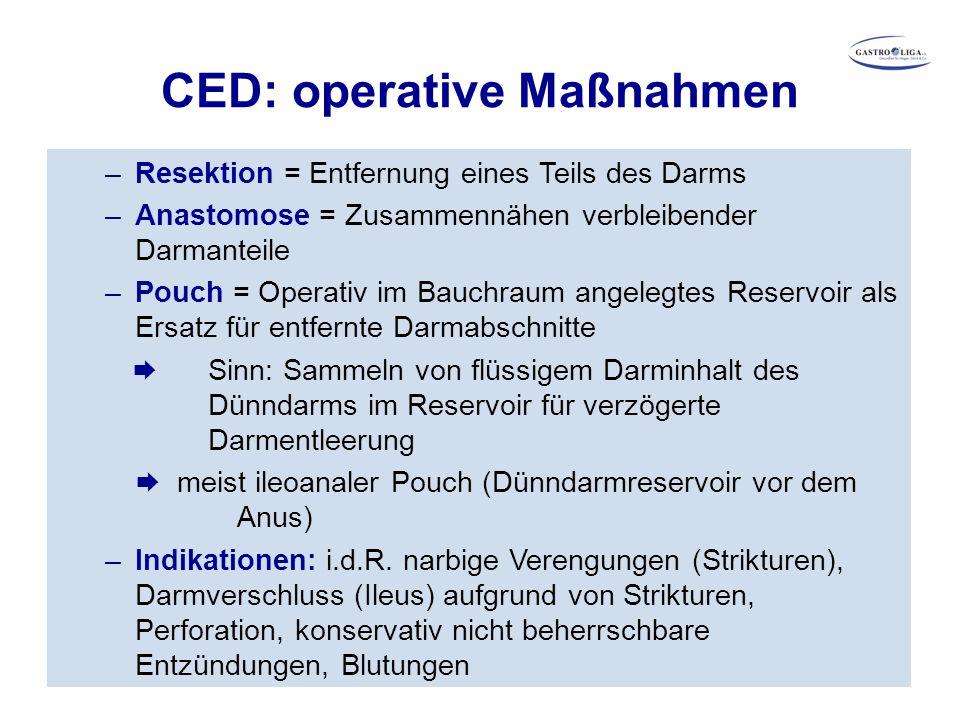 CED: operative Maßnahmen –Resektion = Entfernung eines Teils des Darms –Anastomose = Zusammennähen verbleibender Darmanteile –Pouch = Operativ im Bauc