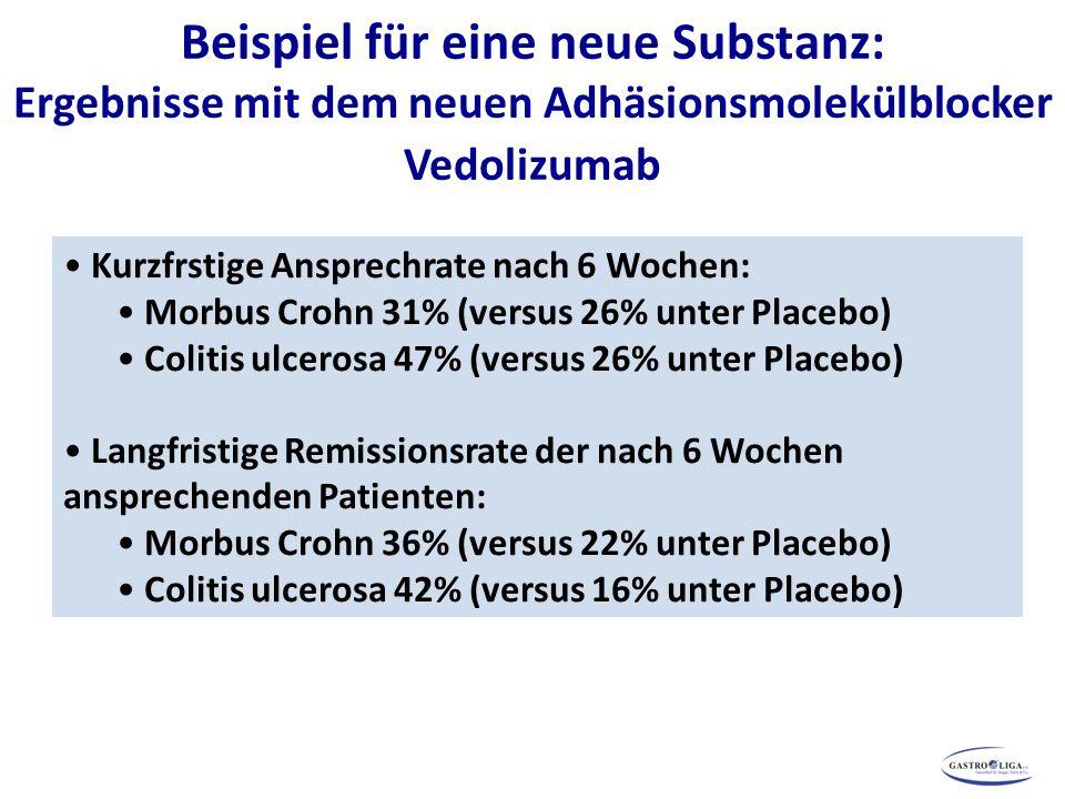 Beispiel für eine neue Substanz: Ergebnisse mit dem neuen Adhäsionsmolekülblocker Vedolizumab Kurzfrstige Ansprechrate nach 6 Wochen: Morbus Crohn 31%