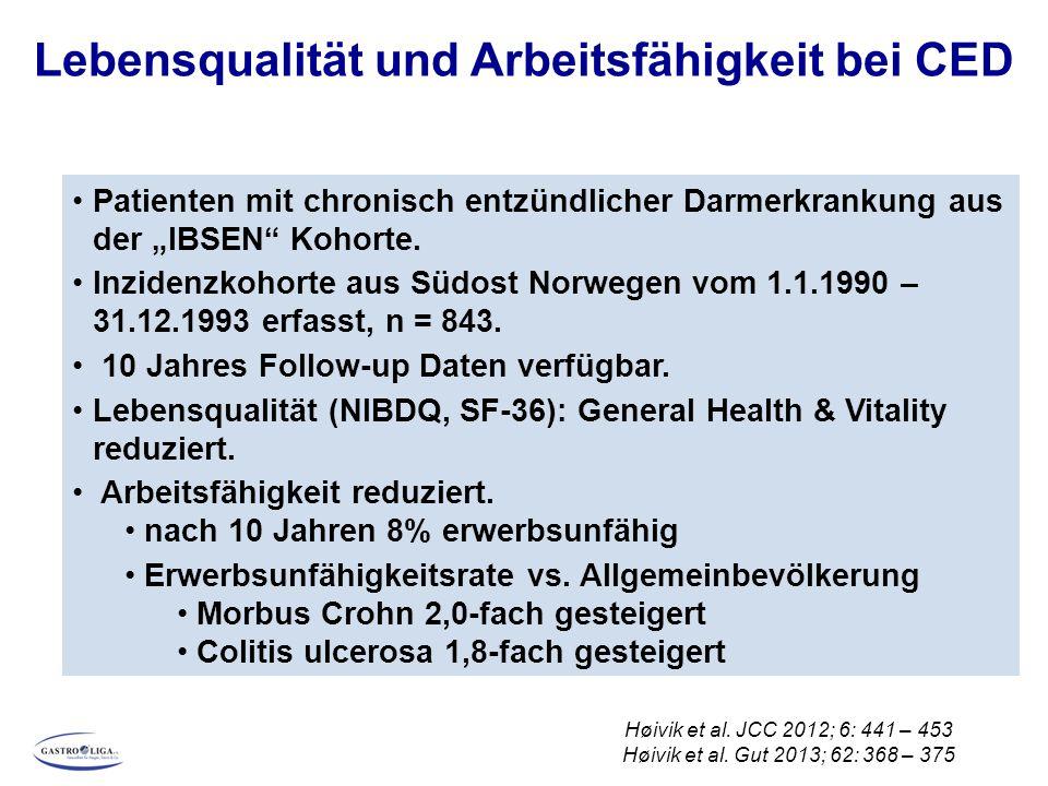 Lebensqualität und Arbeitsfähigkeit bei CED Høivik et al. JCC 2012; 6: 441 – 453 Høivik et al. Gut 2013; 62: 368 – 375 Patienten mit chronisch entzünd