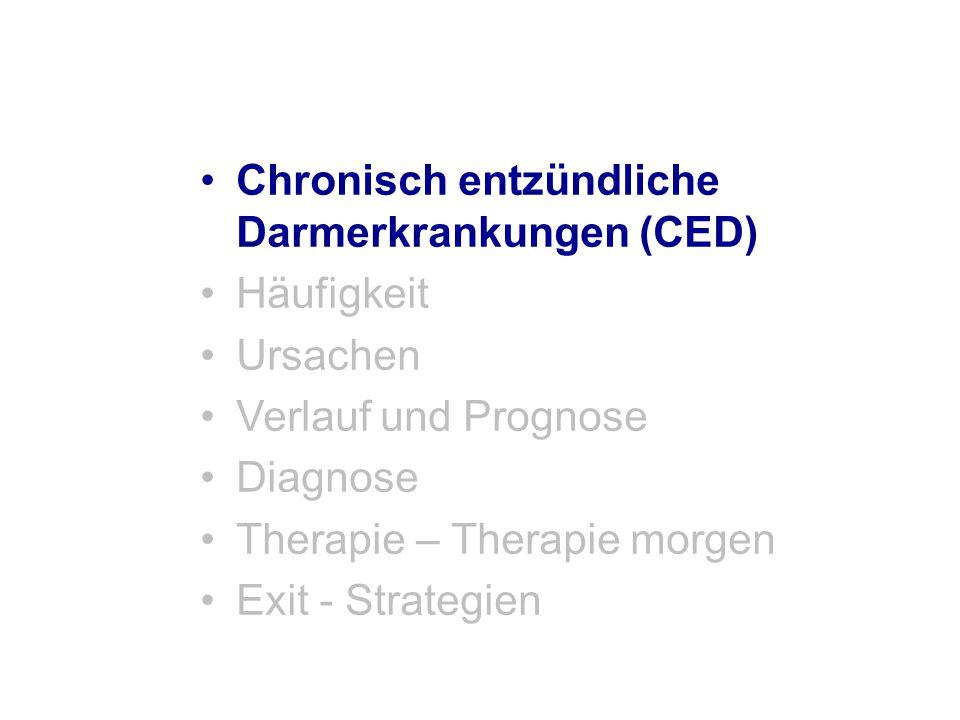 Morbus Crohn Probleme der Therapie –Aminosalicylate (5-ASA/Sulfasalazin) Geringe Effektivität Toxizität gering –Steroide Nebenwirkungen bei Langzeittherapie, kein Remissionserhalt –Budesonid Kein Nutzen im Remissionserhalt bei mittelschwerem und schwerem Morbus Crohn –Immunsuppressiva (AZA, 6-MP, Methotrexat) Langsamer Wirkeintritt Dosisabhängige Toxizität Methotrexat: nicht bei geplanter Schwangerschaft oder Schwangerschaft (teratogen) –TNF- ɑ -Inhibitoren Wirkverlust Infusionsreaktionen (Infliximab), Injektionsreaktionen (Adalimumab), Infektionsrisiko
