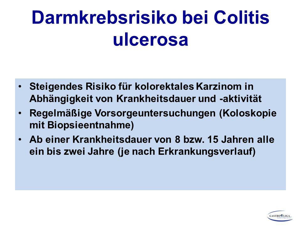 Darmkrebsrisiko bei Colitis ulcerosa Steigendes Risiko für kolorektales Karzinom in Abhängigkeit von Krankheitsdauer und -aktivität Regelmäßige Vorsor