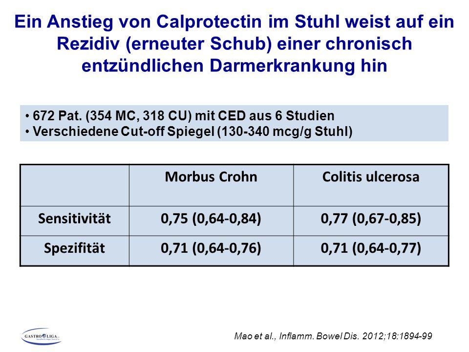 Ein Anstieg von Calprotectin im Stuhl weist auf ein Rezidiv (erneuter Schub) einer chronisch entzündlichen Darmerkrankung hin Mao et al., Inflamm. Bow