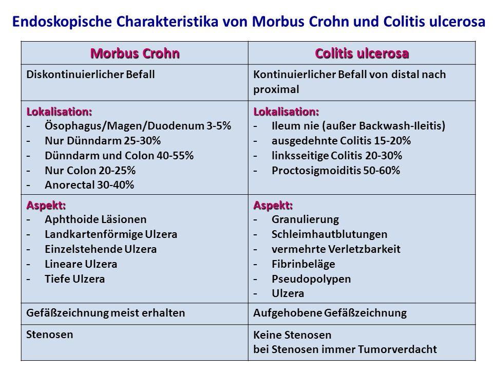 Morbus Crohn Colitis ulcerosa Diskontinuierlicher BefallKontinuierlicher Befall von distal nach proximal Lokalisation: - Ösophagus/Magen/Duodenum 3-5% - Nur Dünndarm 25-30% - Dünndarm und Colon 40-55% - Nur Colon 20-25% - Anorectal 30-40%Lokalisation: - Ileum nie (außer Backwash-Ileitis) - ausgedehnte Colitis 15-20% - linksseitige Colitis 20-30% - Proctosigmoiditis 50-60% Aspekt: - Aphthoide Läsionen - Landkartenförmige Ulzera - Einzelstehende Ulzera - Lineare Ulzera - Tiefe UlzeraAspekt: - Granulierung - Schleimhautblutungen - vermehrte Verletzbarkeit - Fibrinbeläge - Pseudopolypen - Ulzera Gefäßzeichnung meist erhaltenAufgehobene Gefäßzeichnung StenosenKeine Stenosen bei Stenosen immer Tumorverdacht Endoskopische Charakteristika von Morbus Crohn und Colitis ulcerosa