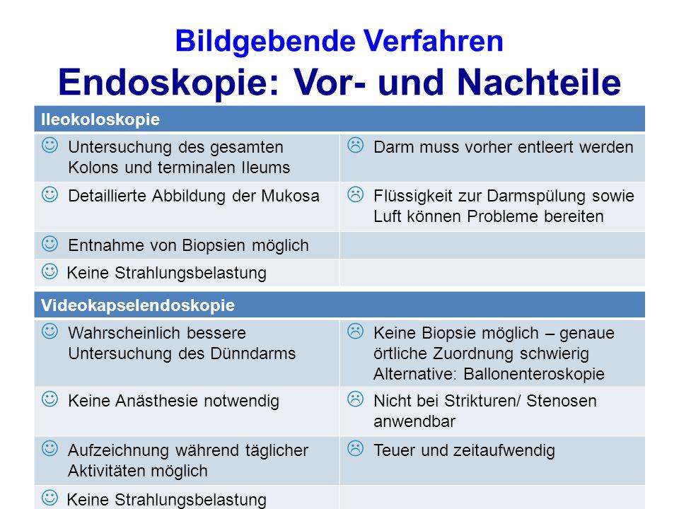 Bildgebende Verfahren Endoskopie: Vor- und Nachteile Ileokoloskopie Untersuchung des gesamten Kolons und terminalen Ileums  Darm muss vorher entleert