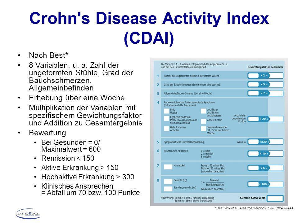 Crohn's Disease Activity Index (CDAI) Nach Best* 8 Variablen, u. a. Zahl der ungeformten Stühle, Grad der Bauchschmerzen, Allgemeinbefinden Erhebung ü