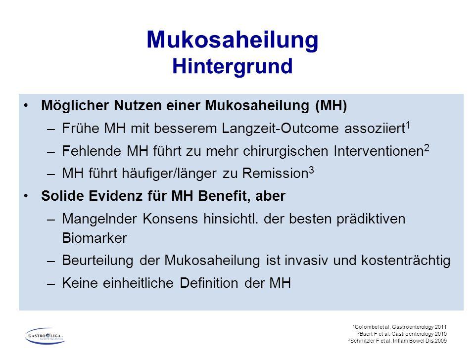 Möglicher Nutzen einer Mukosaheilung (MH) –Frühe MH mit besserem Langzeit-Outcome assoziiert 1 –Fehlende MH führt zu mehr chirurgischen Interventionen 2 –MH führt häufiger/länger zu Remission 3 Solide Evidenz für MH Benefit, aber –Mangelnder Konsens hinsichtl.